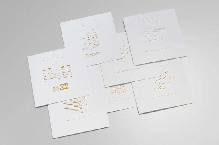 7 cartes de voeux cogedim impression or numérique